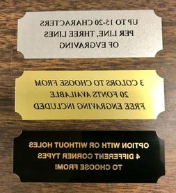 """1""""x3"""" BRASS NAME PLATE ART FLAG CASE PET URN TROPHIES TAXIDE"""