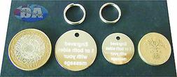 10 Pack, Engraved pet tag. Nickel Pet tags 22/30mm with spli