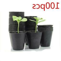 100Pc Plastic Garden Pots Flowerpot Seedlings Planter Contai