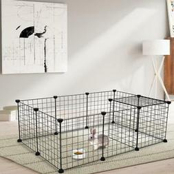 12 X Metal Panels Dog Playpen Crate Fence Pet Play Pen Exerc