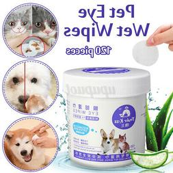 120 Pieces Pet Eye Wet Wipe Dog Cat Tear Stain Remover Pet E