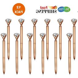 12X Rose Gold Metal Stylus Big Diamond Crystal Ballpoint Pen