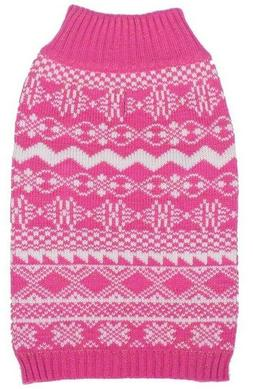 "14"" L Blueberry Pet Dog Pink White Sweater Vest Coat Metalli"