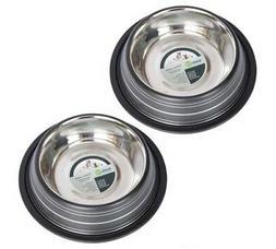 2-Pack Color Splash Stripe Non-Skid Pet Bowl, For Dog or Cat