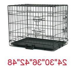 "20""—48"" Dog Crate Kennel Folding Metal Pet Cage 1-2 Door I"