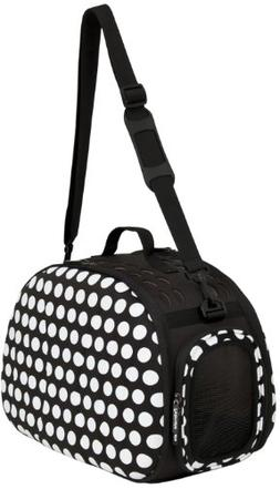 Petmate 21788 Curvations Cat and Puppies Tote with Dots, Bla