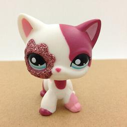 LPS #2291 Blue Eyes Cat Littlest Pet Shop Pink & White Spark