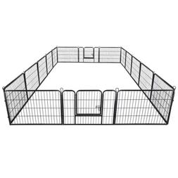 """24"""" Dog Playpen Crate 16 Panel Fence Pet Play Pen Exercise P"""
