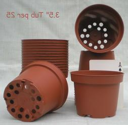 "3 ½ "" round squatty plastic brown flower pots set of 25 f"