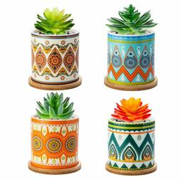 3.5 inch Succulent Plant Pots with Drainage Hole and Bamboo