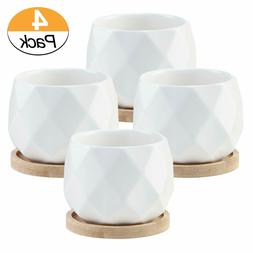 3.5 Inch White Ceramic Succulent Plant Pots with Bamboo Tray