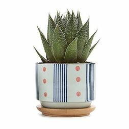 3 Inch Ceramic Succulent Planter Pots with Bamboo Tray Japan