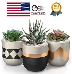 3 inch Small Succulent Pots with Drainage - Set of 3 Concret