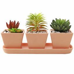 3 inch Square Terracotta Garden Planter Pots with Oval Drain