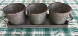 3 Metal Flower Pots With 18 Inch Handled Tray NWT