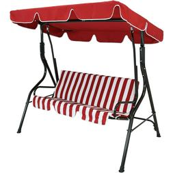 3-person Striped Cushion Seat Outdoor Canopy Patio Swing - R