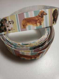 "3 yds Grosgrain Ribbon Dachshund dog pets 7/8"" wide USA sell"