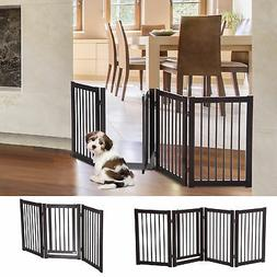 "30"" Panel Wooden Folding Indoor Pet Dog Gate Freestanding Sa"