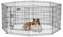 "30"" Tall Dog Cat Metal Playpen Crate Fence Pet Foldable Exer"