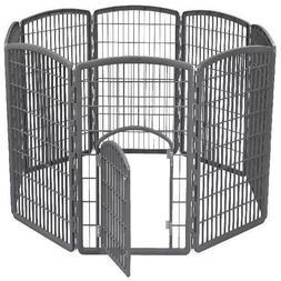 IRIS 34' Exercise 8-Panel Pet Playpen with Door, Gray W