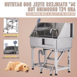 """34"""" Stainless Steel Dog Grooming Bath Tub Kit for Pet Salon"""