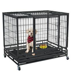 """37"""" Pet Dog Cage Heavy Duty Strong Metal Wire Crate Kennel P"""