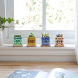 4pcs 3 Inch Ceramic Small Plant Pots, Mandala Pattern Plant