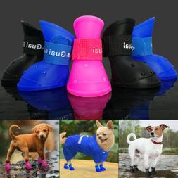 4pcs Waterproof Dog Rain Boots Non-Slip Small Medium Dogs Sh