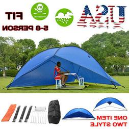 5-8 PERSON Tent Tarp Awning Beach Sun Shade Rain Shelter Out