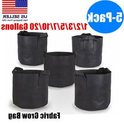 5 Pack Black Fabric Grow Pots Breathable Plant Bags Smart Pl
