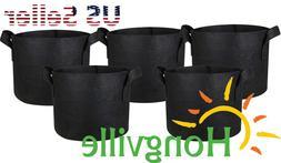 Hongville 5-Pack Black Grow Bags Aeration Fabric Pots w/Hand