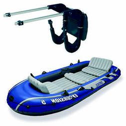 Intex 5 Person Inflatable Fishing Boat Set with 2 Oars, Air