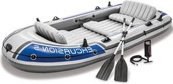 5 Person Inflatable Rafting and Fishing Boat Set with 2 Oars