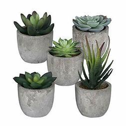 5 Pots Small Artificial Succulent Plants Mini Fake Faux Sucu