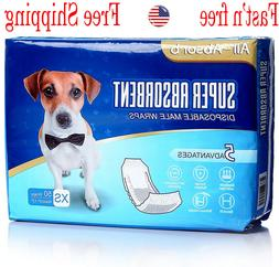 50 Pack Waist Disposable Dog Diapers Male Wraps Belly Bands