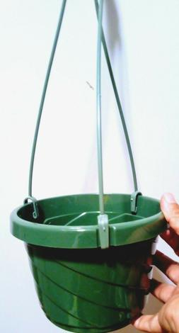 "6"" Green Plastic Hanging Basket Pot for Plants, 3 detachable"