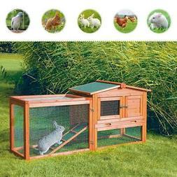 """61""""Wooden Rabbit Hutch Cage Chicken Coop House Bunny Hen Pet"""