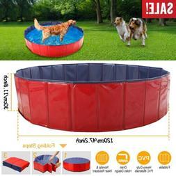 "63"" 48"" Large Dog Puppy Pool Pet Bath Swimming Pool Foldable"