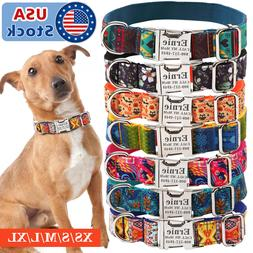 7 Cotton Personalized Dog Collar ID Tag Engraved for Small M