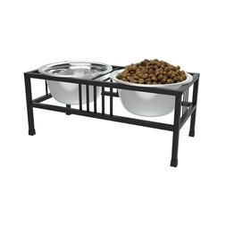 Elevated Pet Dog Cat Stainless Steel Bowls with Non Slip Sta