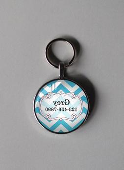 A 3/4 inch blue zig pet tag cat small dogs custom personaliz
