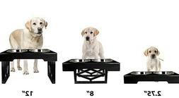 ADJUSTABLE Elevated Dog Bowls with 2 Stainless Steel Bowls,