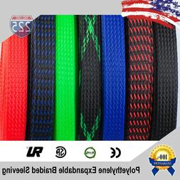 ALL SIZES & COLORS 5 FT - 100 FT. Expandable Cable Sleeving