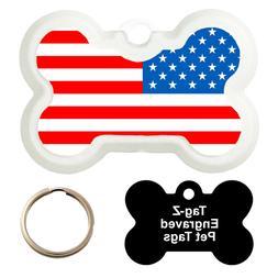 AMERICAN FLAG - CUSTOMIZED - PET TAG - BONE SHAPE - TAG-Z DO
