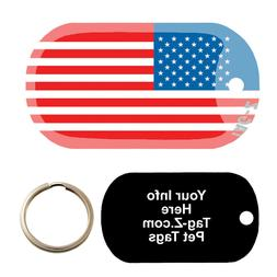 AMERICAN FLAG - CUSTOMIZED - PET TAG - MILITARY SHAPE - TAG-