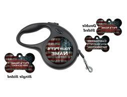 American Flag Pet Id Dog Tags & Retractable Leash Personaliz