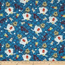 Animal Pet Fabric - Dogs & Suds Tossed Bathtub Blue - Henry