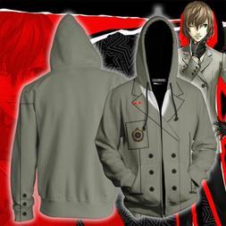 Anime Persona 5 Goro Akechi Zipper Hoodie Jacket Sweatshirt