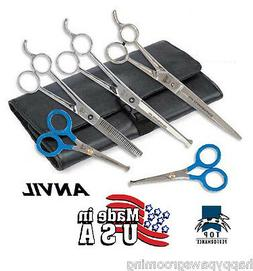 ANVIL TP 5 pc SET PET Dog PRO GROOMING THINNING,CURVED&STRAI