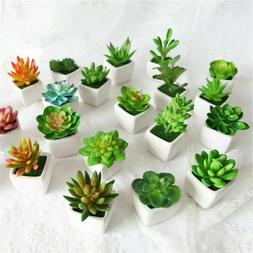 Artificial Small Succulent Fake Plant Faux Mini Decor Pots F